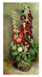 Premium-plakat Vase with Hollyhocks