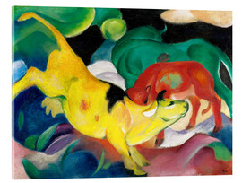 Akrylbillede  Cows - yellow, red, green - Franz Marc
