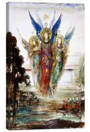 Lærredsbillede  Job and the Angels - Gustave Moreau