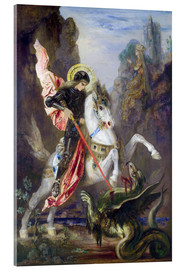 Akrylbillede  St. George and the Dragon - Gustave Moreau