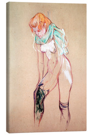 Lærredsbillede  Woman Pulling up her Stocking - Henri de Toulouse-Lautrec