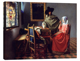 Lærredsbillede  The Wine Glass - Jan Vermeer