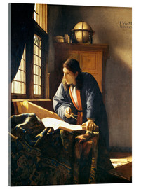 Akrylbillede  A geographer or astronomer in his study - Jan Vermeer