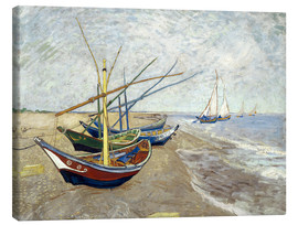 Lærredsbillede  Fishing Boats on the Beach at Saintes-Maries - Vincent van Gogh