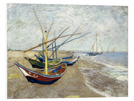 Print på skumplade  Fishing Boats on the Beach at Saintes-Maries - Vincent van Gogh
