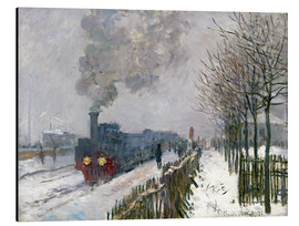 Print på aluminium  Train in the snow (The Locomotive) - Claude Monet