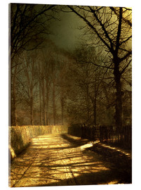 Akrylbillede  A Moonlit Lane, with two lovers by a gate - John Atkinson Grimshaw