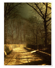 Premium-plakat A Moonlit Lane, with two lovers by a gate