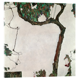 Akrylbillede  Autumn Tree with Fuchsias - Egon Schiele