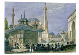 Akrylbillede  Fountain and Square of St. Sophia, Istanbul - William Henry Bartlett