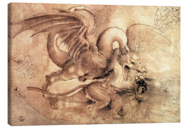Lærredsbillede  Fight between a Dragon and a Lion - Leonardo da Vinci