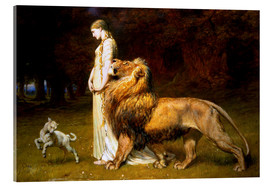 Akrylbillede  Una and the Lion, from Spenser's Faerie Queene - Briton Riviere