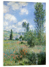 Akrylbillede  Path Through the Poppies, Île Saint-Martin, Vetheuil - Claude Monet