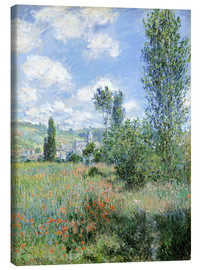 Lærredsbillede  Path Through the Poppies, Île Saint-Martin, Vetheuil - Claude Monet