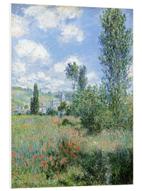 Print på skumplade  Path Through the Poppies, Île Saint-Martin, Vetheuil - Claude Monet