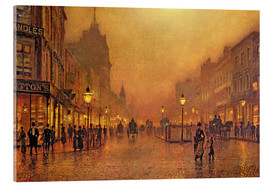 Akrylbillede  A Street at Night - John Atkinson Grimshaw