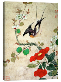Lærredsbillede  Bird and apples - Wang Guochen