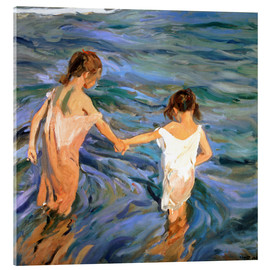 Akrylbillede  Girls in the sea - Joaquín Sorolla y Bastida