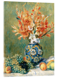 Akrylbillede  Still Life with Fruit and Flowers - Pierre-Auguste Renoir