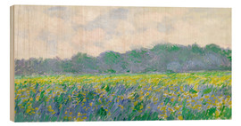 Print på træ  Field of Yellow Irises in Giverny - Claude Monet