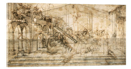 Akrylbillede  Perspective Study For the Background of the Adoration of the Magi - Leonardo da Vinci