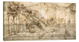 Lærredsbillede  Perspective Study For the Background of the Adoration of the Magi - Leonardo da Vinci