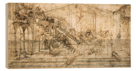 Print på træ  Perspective Study For the Background of the Adoration of the Magi - Leonardo da Vinci