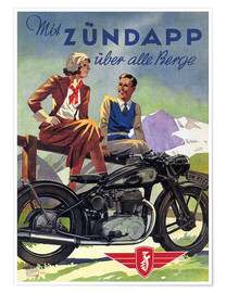 Premium-plakat  With Zündapp over the hills (German) - Advertising Collection