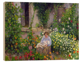 Print på træ  Mother and Child in the Flowers - Camille Pissarro