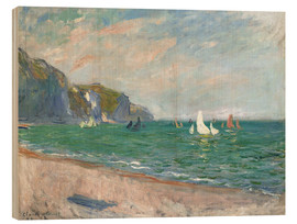 Print på træ  Boats below the Cliffs at Pourville - Claude Monet