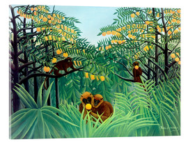 Akrylbillede  Apes in the orange grove - Henri Rousseau
