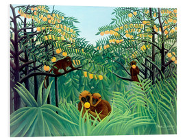 Print på skumplade  Apes in the orange grove - Henri Rousseau