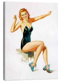 Lærredsbillede  Pin Up - Seated Redhead in Swimsuit - Al Buell