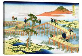 Lærredsbillede  Old View of the Eight-part Bridge at Yatsuhashi in Mikawa Province - Katsushika Hokusai