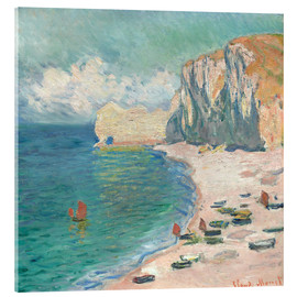 Akrylbillede  Étretat, The Beach and the Falaise d'Amont - Claude Monet