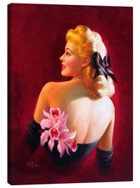 Lærredsbillede  Glamour Pin Up with Pink Orchids - Art Frahm