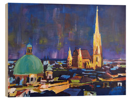 Print på træ  Vienna Skyline at Night with St Stephan - M. Bleichner