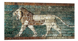 Print på skumplade  Lion mosaic at the temple of Babylon