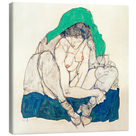 Lærredsbillede  Crouching Woman with Green Headscarf - Egon Schiele