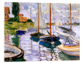 Akrylbillede  Sailboats on the Seine - Claude Monet
