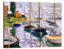 Print på aluminium  Sailboats on the Seine - Claude Monet