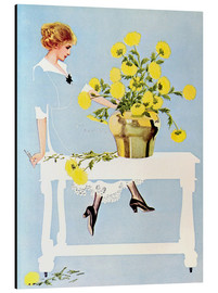 Print på aluminium  Housekeeper with bouquet - Clarence Coles Phillips