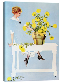 Lærredsbillede  Housekeeper with bouquet - Clarence Coles Phillips