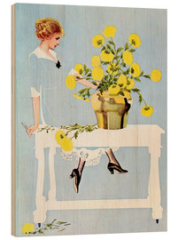Print på træ  Housekeeper with bouquet - Clarence Coles Phillips