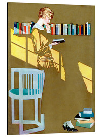 Print på aluminium  Reading in front of the bookshelf - Clarence Coles Phillips