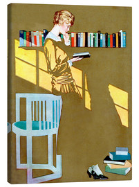 Lærredsbillede  Reading in front of the bookshelf - Clarence Coles Phillips