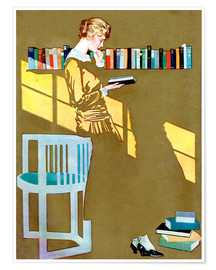 Premium-plakat  Reading in front of the bookshelf - Clarence Coles Phillips