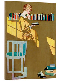 Print på træ  Reading in front of the bookshelf - Clarence Coles Phillips