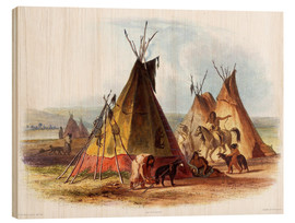 Print på træ  Camp of Native Americans - Karl Bodmer