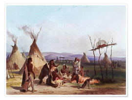 Premium-plakat  Funeral scaffold of a Sioux chief - Karl Bodmer